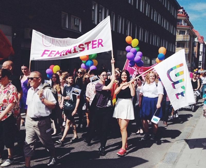 I paraden under Sundsvall Pride, 14-07-05. Foto: Embla Richnau