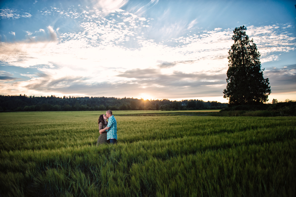 Sunset, Snohomish, Engagement, Photography, Wheat Field