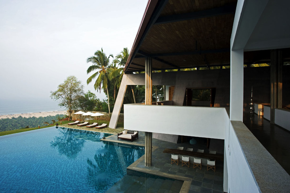 Modern beach home in Kerala, India.