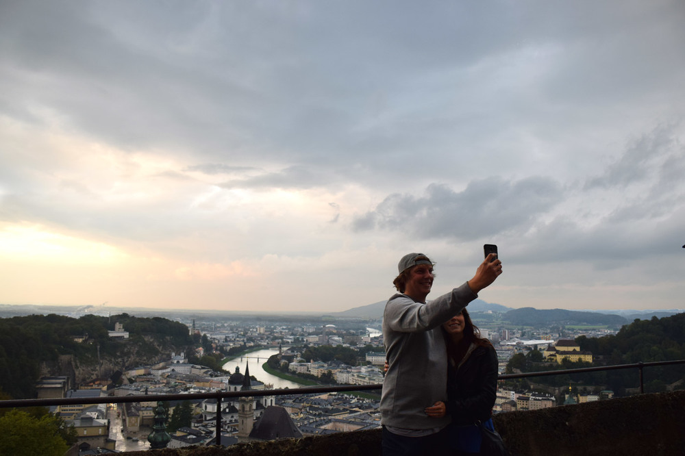 An old school selfie attempt overlooking Salzburg from a castle.