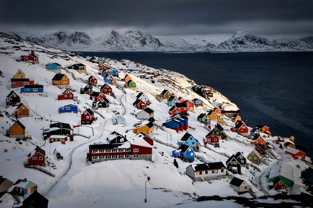 Snow covered town via visit greenland