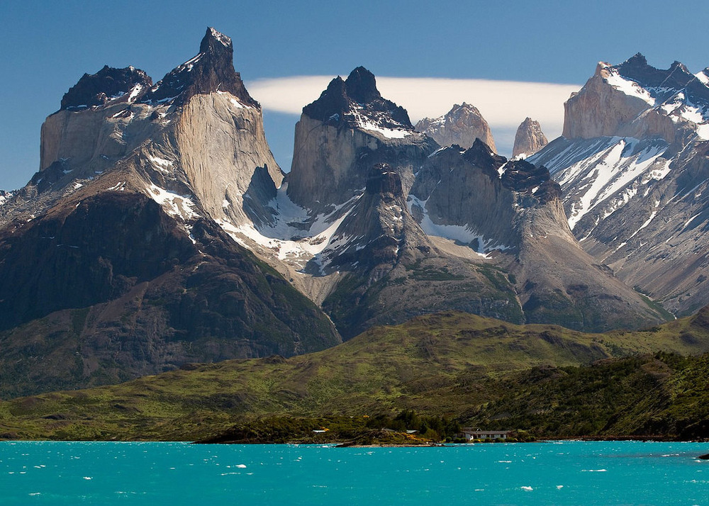 Lake Pehoe, Torres del Paine National Park, Chile via imgur