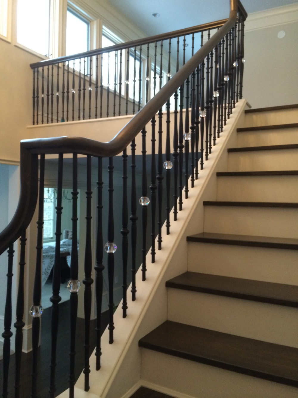 Traditional railings with iron balusters