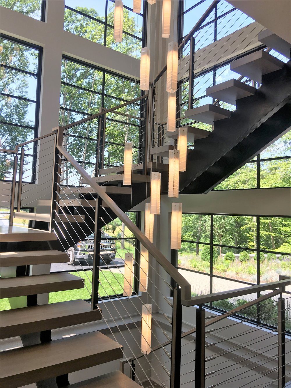 Custom staircase with cable railing