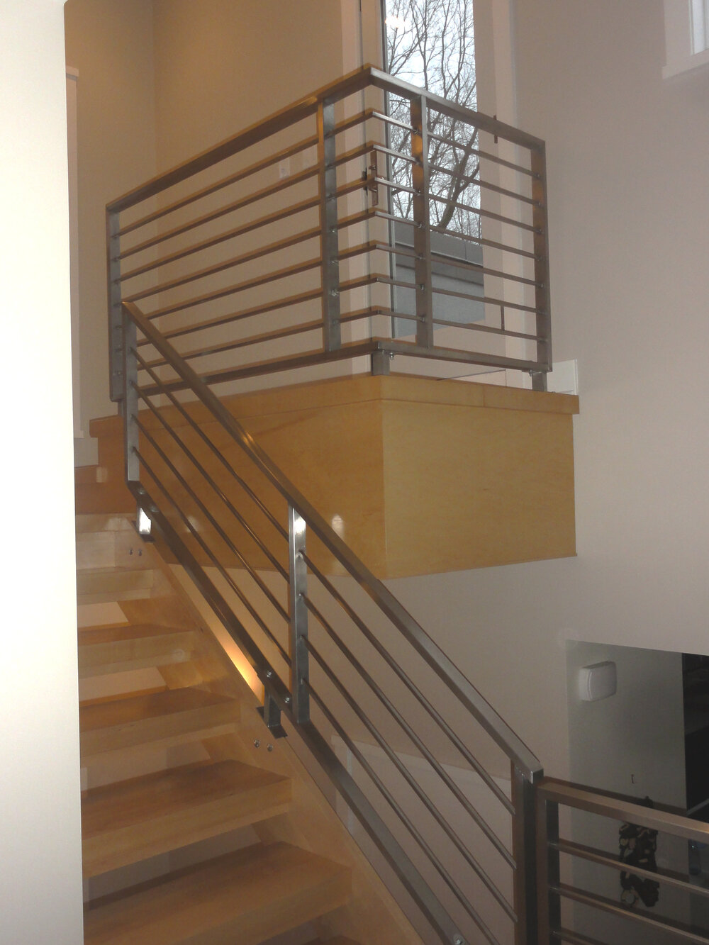 Horizontal railing and custom staircase