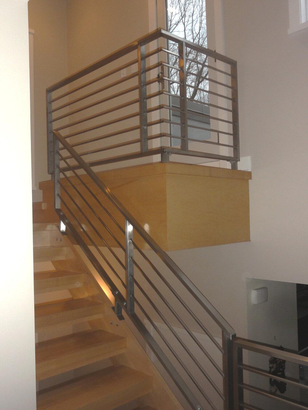 Horizontal railing and custom staircase