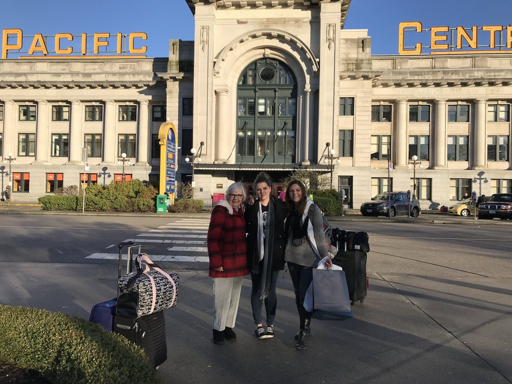 My mother, daughter and I arrive in Vancouver after several days on the train.