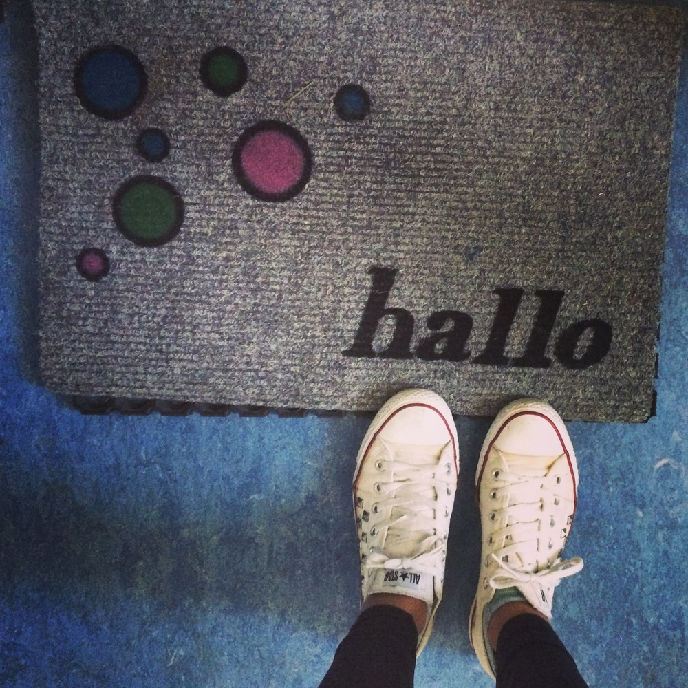 I think this picture is so cute! I see this mat everyday! Hallo (Hello in German)