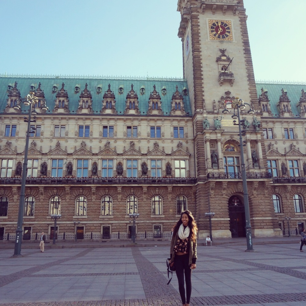 First day of sightseeing in Germany, Hamburg town hall. (I think I look very cute)