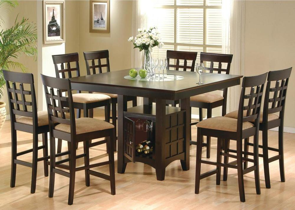 Pub Height Table With Lazy Susan Wine Rack