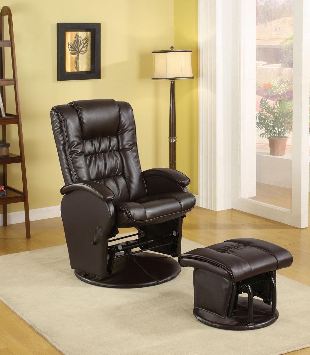 Padded seating and smooth gliding mechanism, covered in durable leather like brown vinyl. Comes with matching ottoman