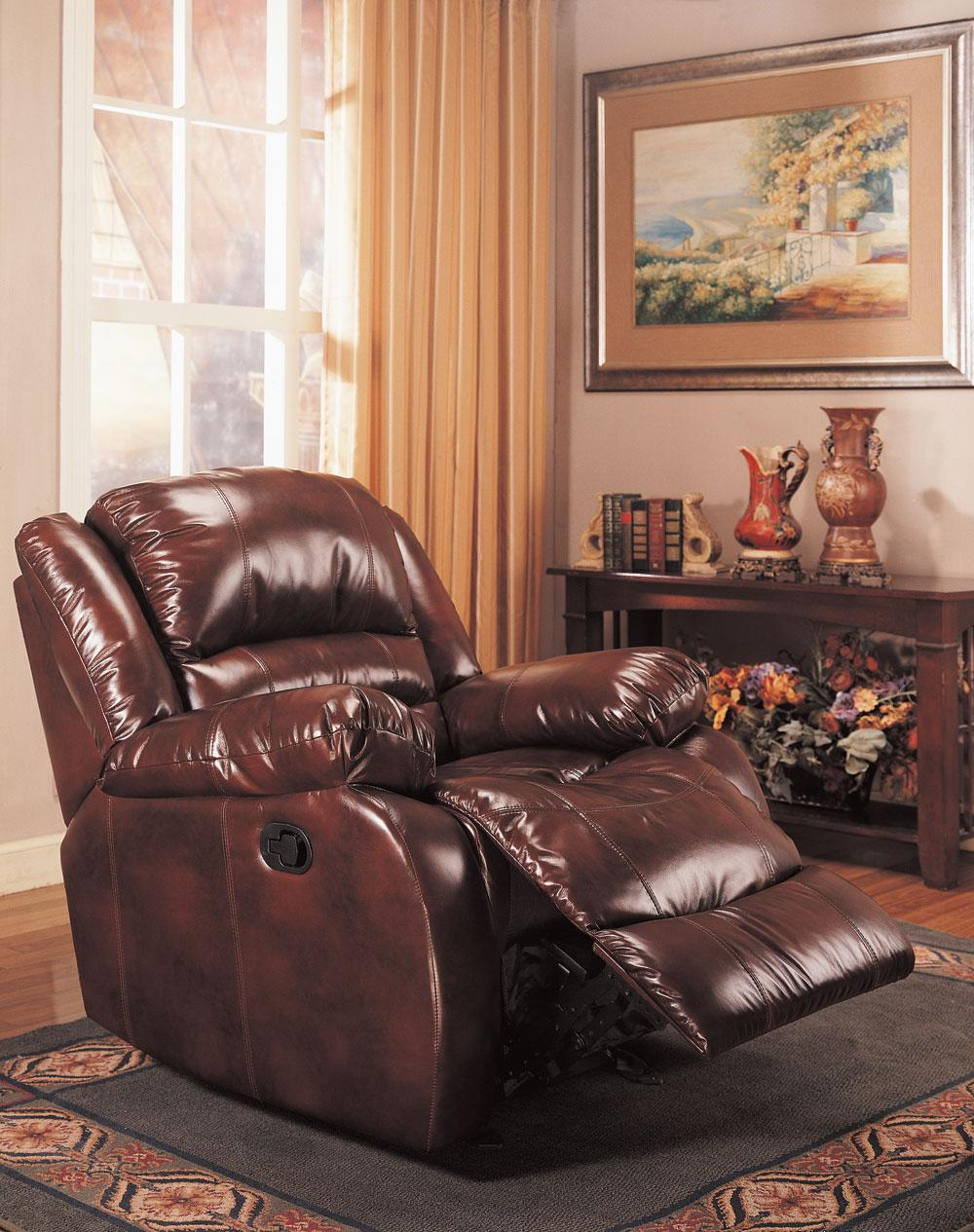 Burgundy rocker recliner