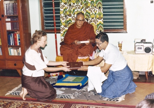 Zeida receiving the teachings from Venerable U Pandita Sayadaw