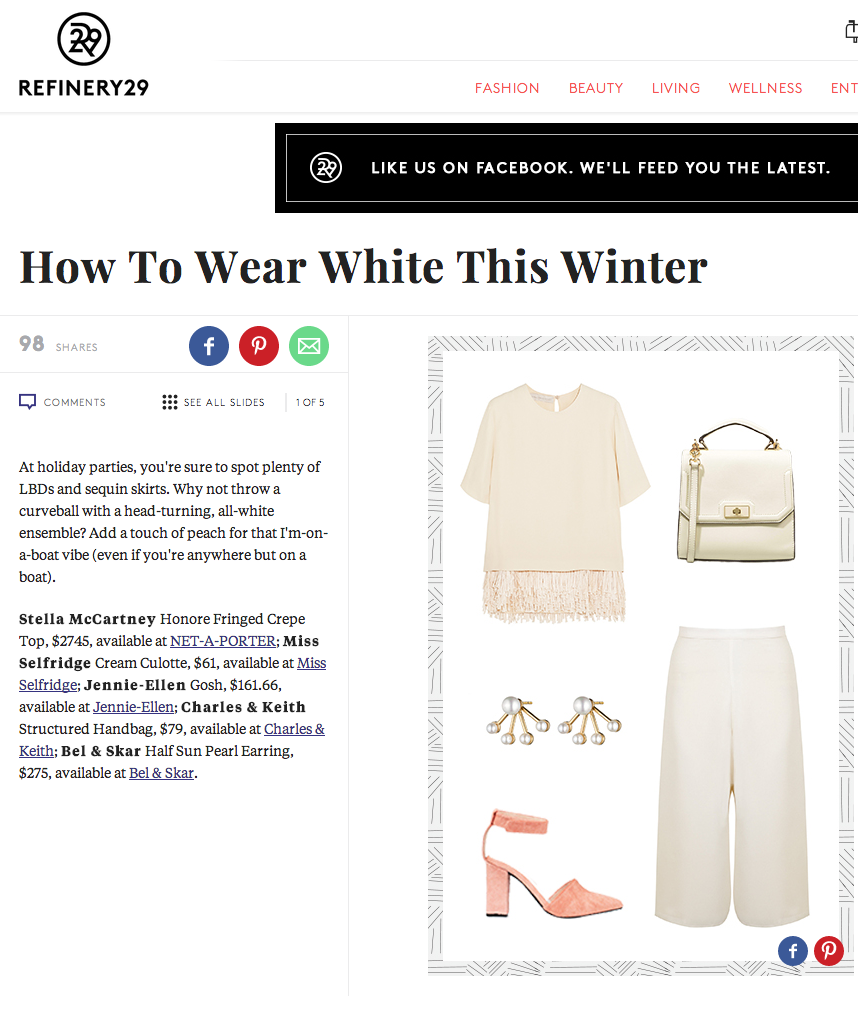 REFINERY 29 - HOW TO WEAR WHITE | HALF SUN PEARL EARRINGS