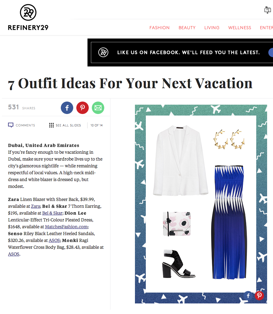 REFINERY 29 - OUTFITS FOR YOUR NEXT VACATION  | THORN HOOP EARRINGS