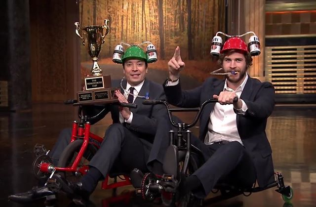 #TBT to when #jimmyfallon and #liamhemsworth rode our trikes!