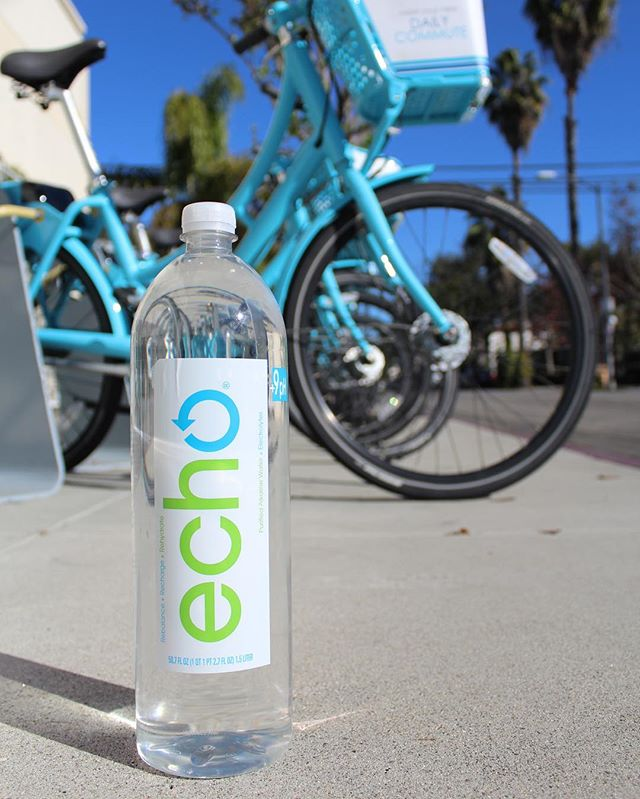 Hopping on a @longbeachbikes #BikeShare cruiser for a #SundayFunday adventure, with a 1.5 liter #EchoWater of course. We love anything that is good for us AND good for the environment! 🚴🌎💦