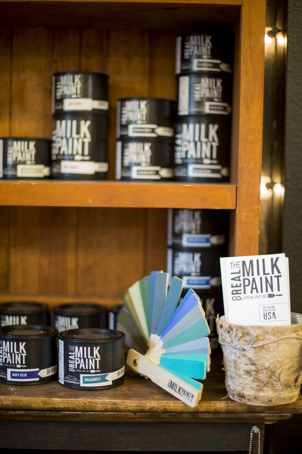 The other paint line that I also carry is the Real Milk Paint Company.  This line has a huge selection of colors and a couple different options for finishes such as their wax, hemp oil, and tung oil.