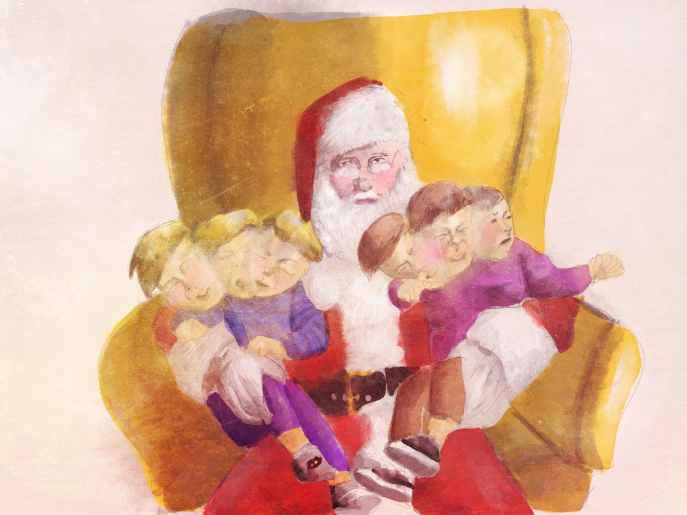 The kids turned out fine, this is my take on Jenny's Christmas card proving as much. Only bad parents have kids that are fine sitting on giant red stranger's lap.
