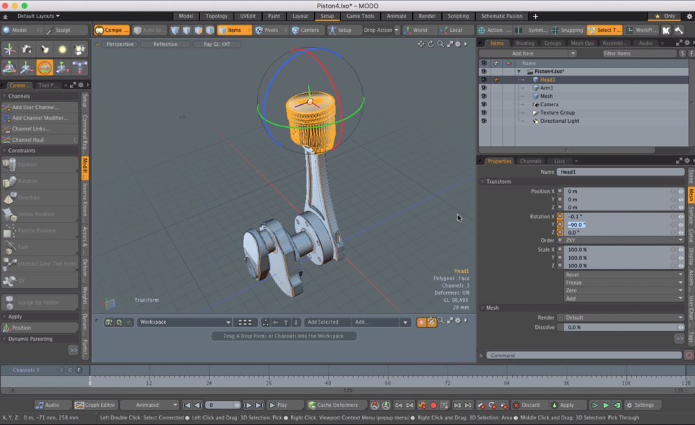 A screen shot of a tutorial video teaching how to animate a piston, with complex rotations