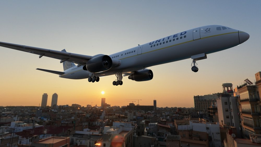 Shot from a 3D render branding work for United Airlines