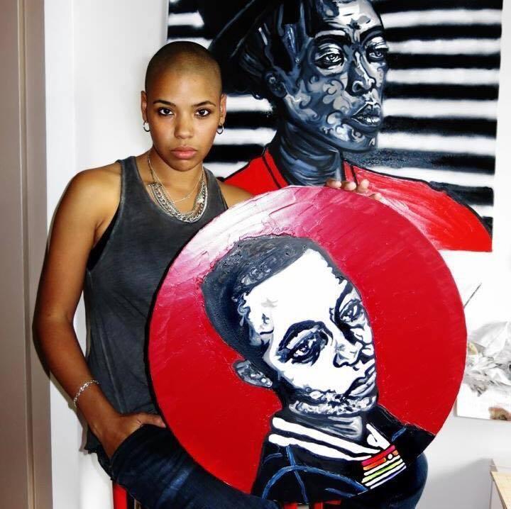 Portrait of Pauline N'Gouala by Emilie Jouvet. Foreground portrait: Zozo Duduzile. Background portrait: Zanele Muholi. Photo credit:    E. Jouvet