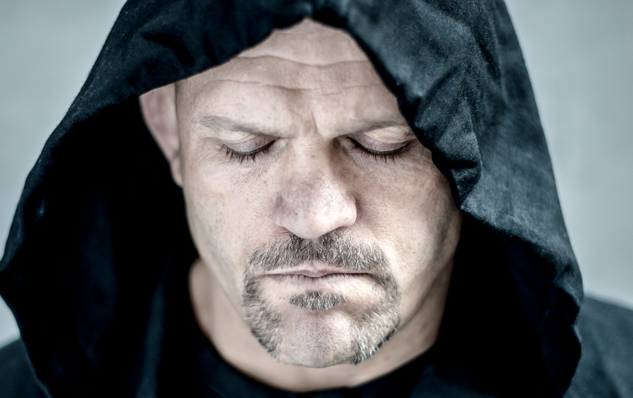Chuck Liddell between takes.