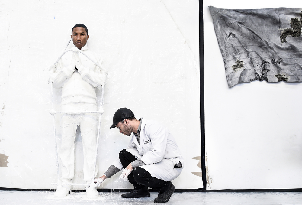 Pharrell with Daniel Arsham for his exhibition in Paris for G I R L