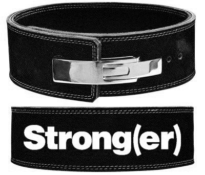 elitefts™ Strong(er) Black Lever Belt   The lever closure makes it easier to slip in and out of  when compared to the economy belt. Elitefts also make a  leather  of this belt.