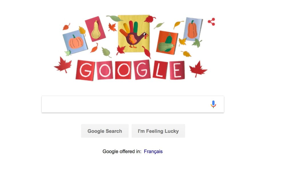 The Google Homepage with the Canadian Thanksgiving Doodle