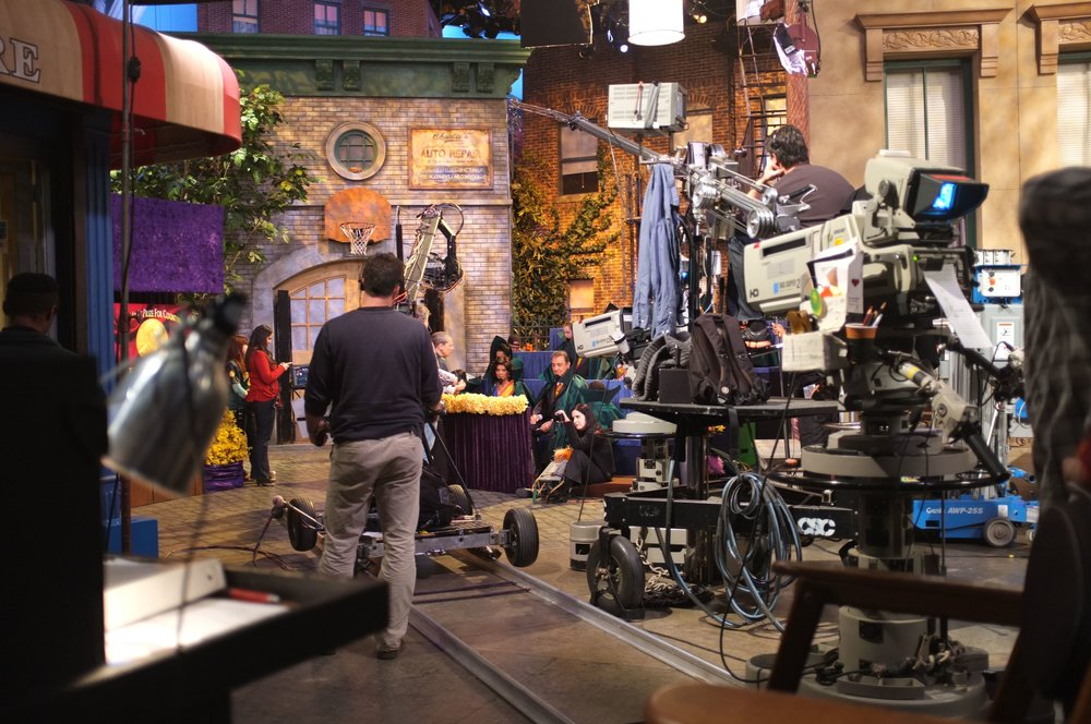 On set during filming of a Sesame Street episode.