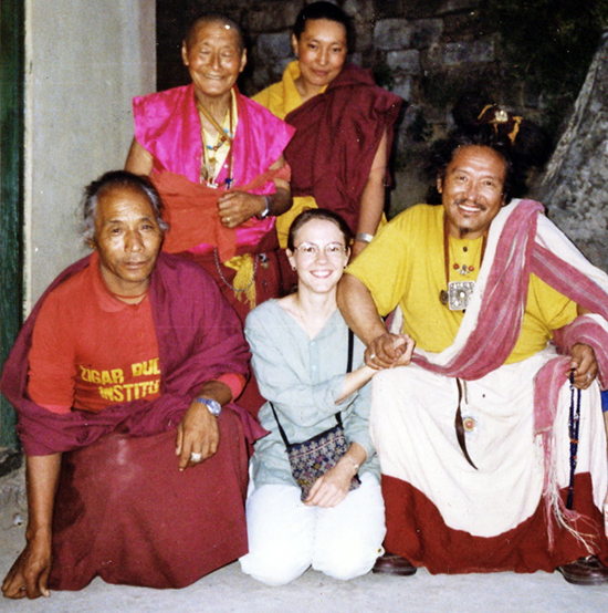 Lisa-and-Karma-Rinpoche-at-cave in India.jpg