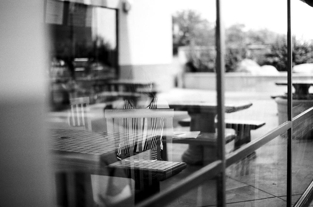 Girl in Coffee Shop: Shot on   Ilford Delta 100   film