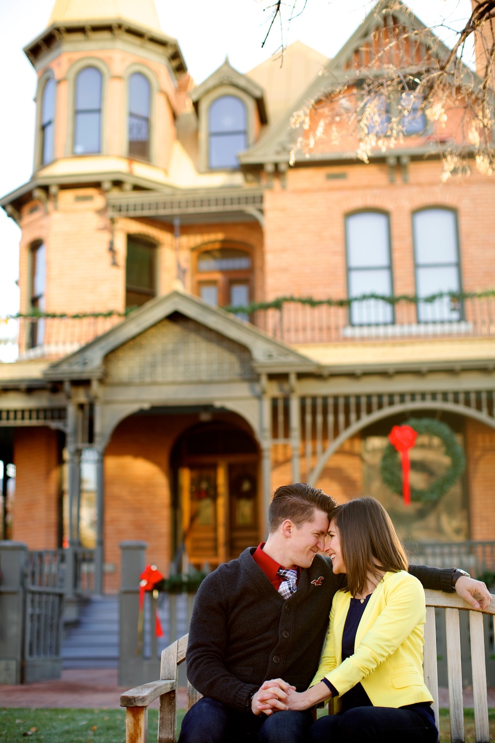 Couple in front of historic Rosson House Museum