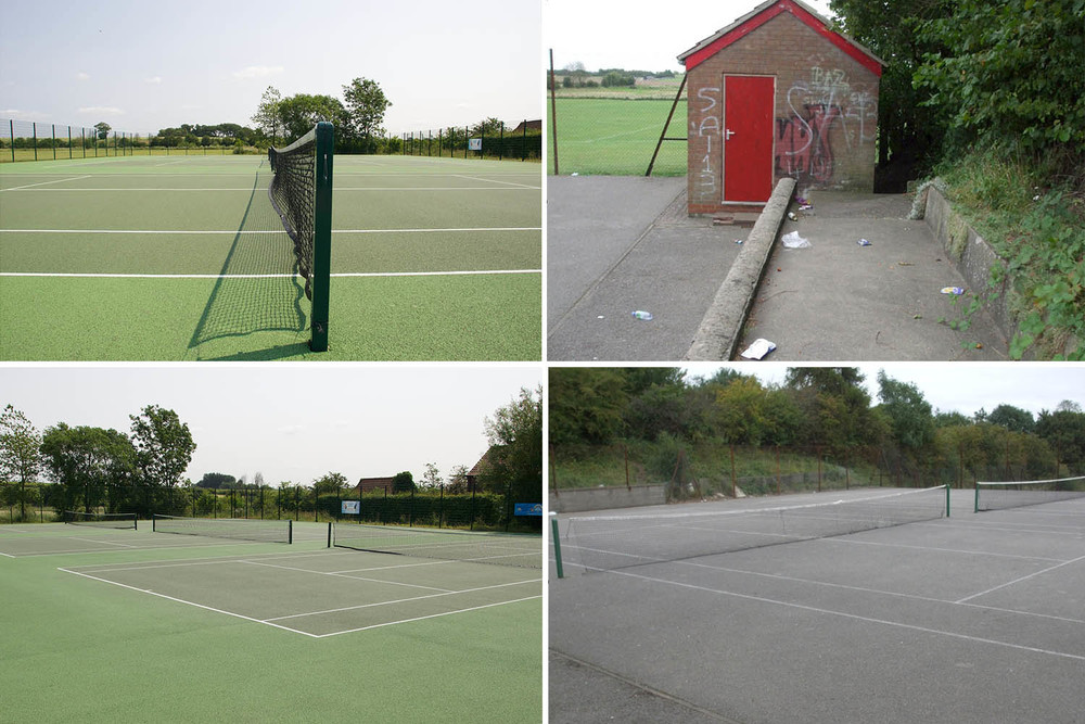 The contrast between the new courts and the neglected old area. The old courts (right) have had a transformation into a multisports court.