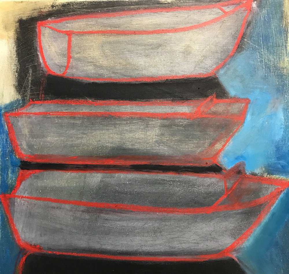 BOATS III  2018, oil on canvas, 45cm x 45cm $300