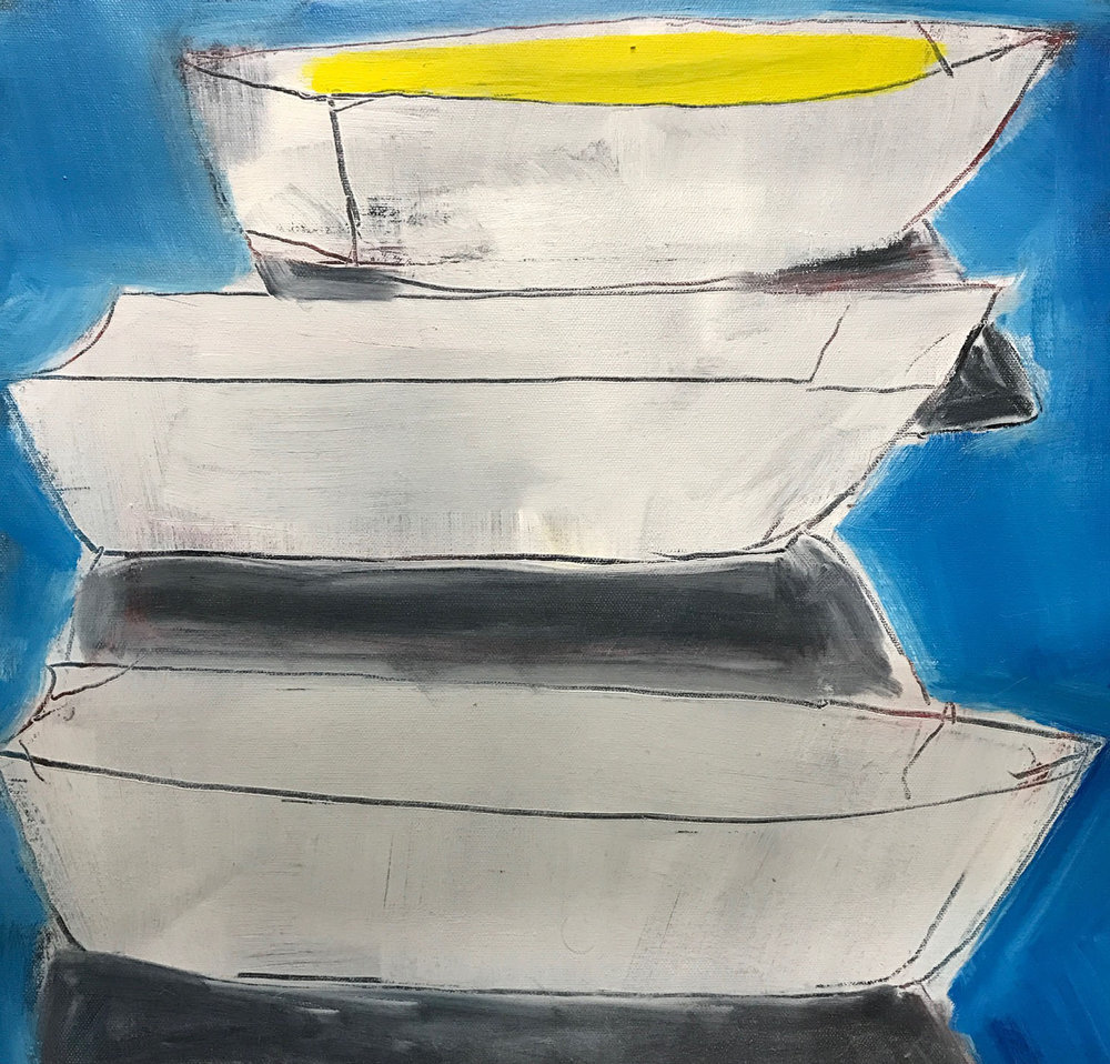 BOATS II  2018, oil on canvas, 50cm x 40cm $300