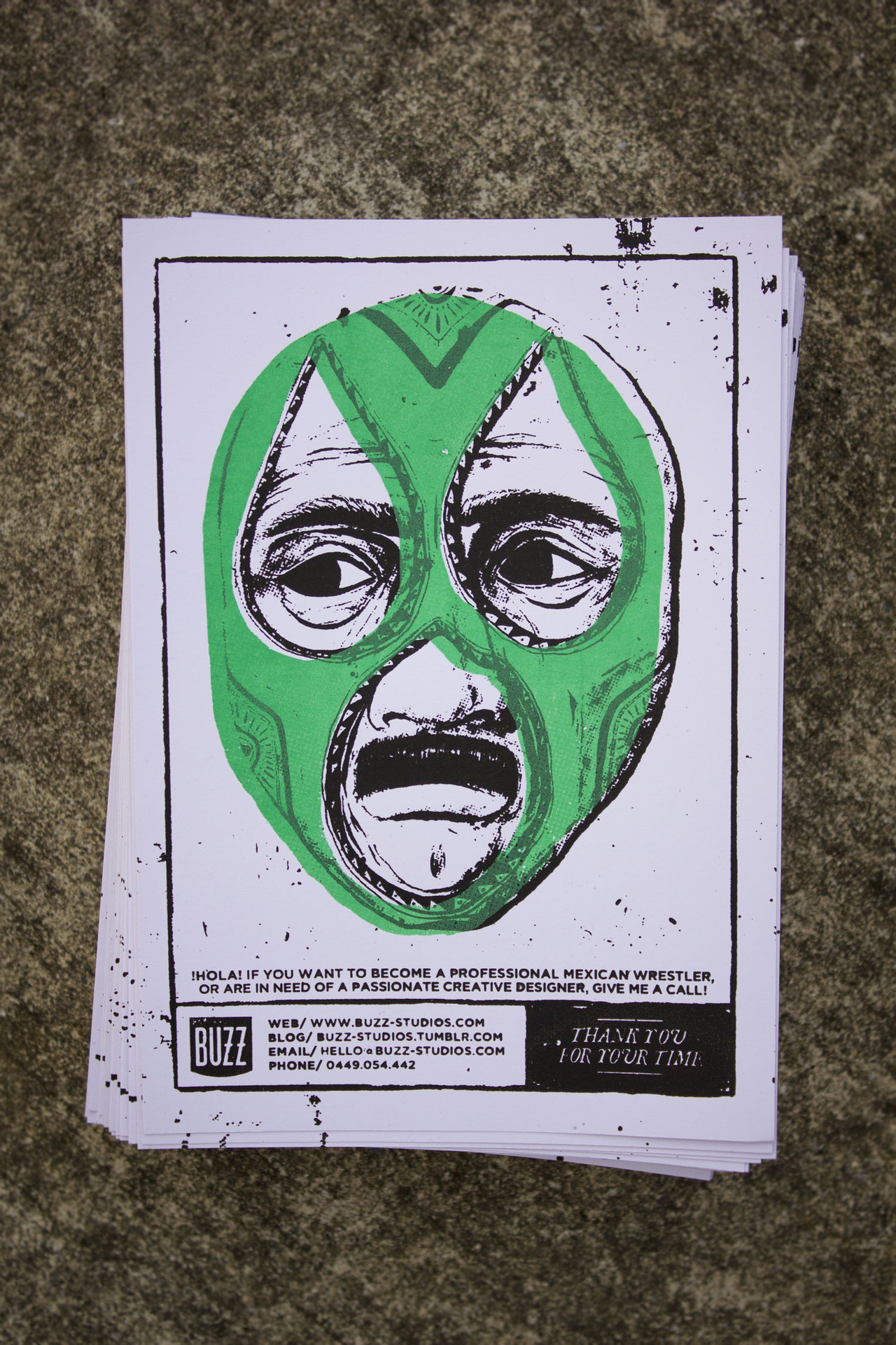 New screen prints! Sort of an oversized business card, with just enough room for a lucha libre!