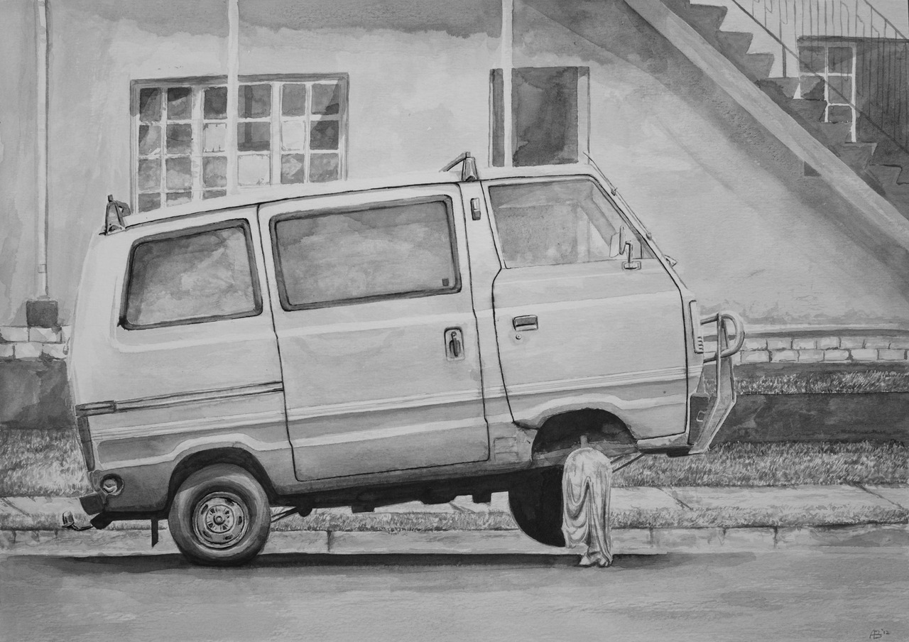 Mini, mini van. -Inkwash