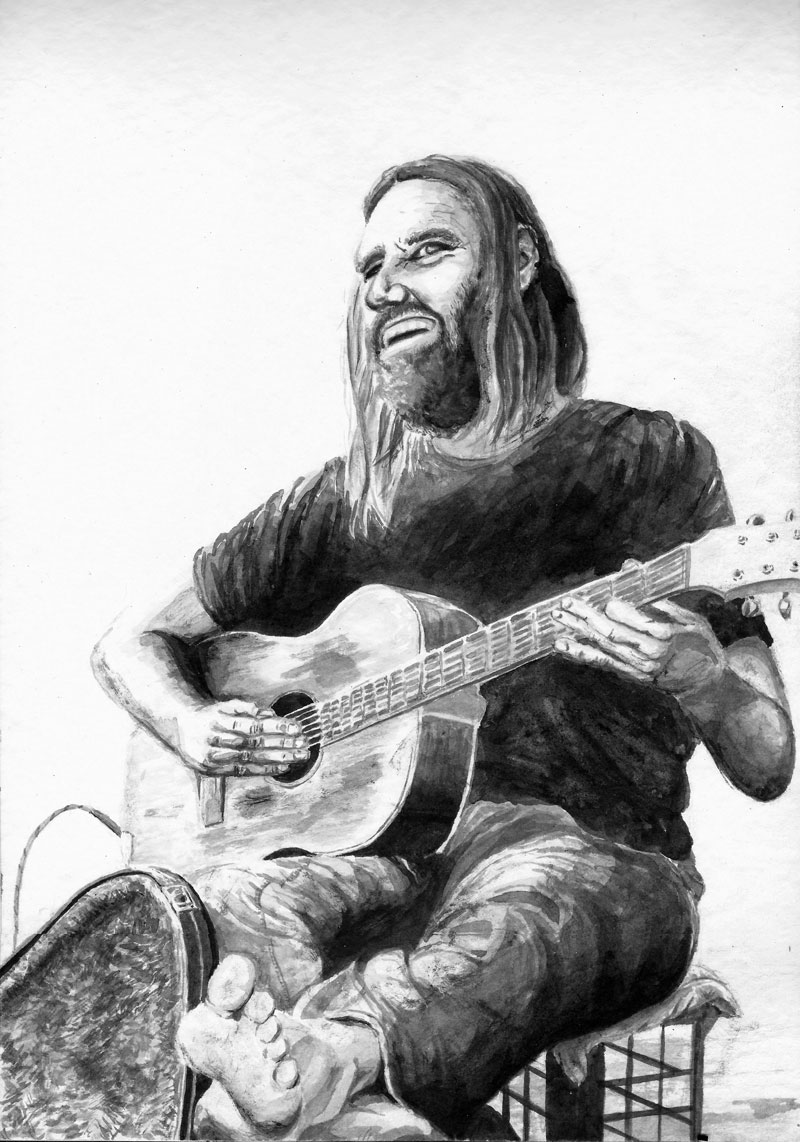 New Inkwash of a superb busker here in brisbane. He's always just jamming shoeless with a smile on his face, livin the dream!