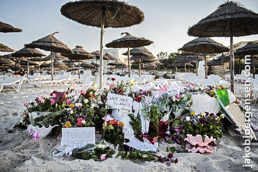 Stranden i Sousse, hvor angrebet fandt sted