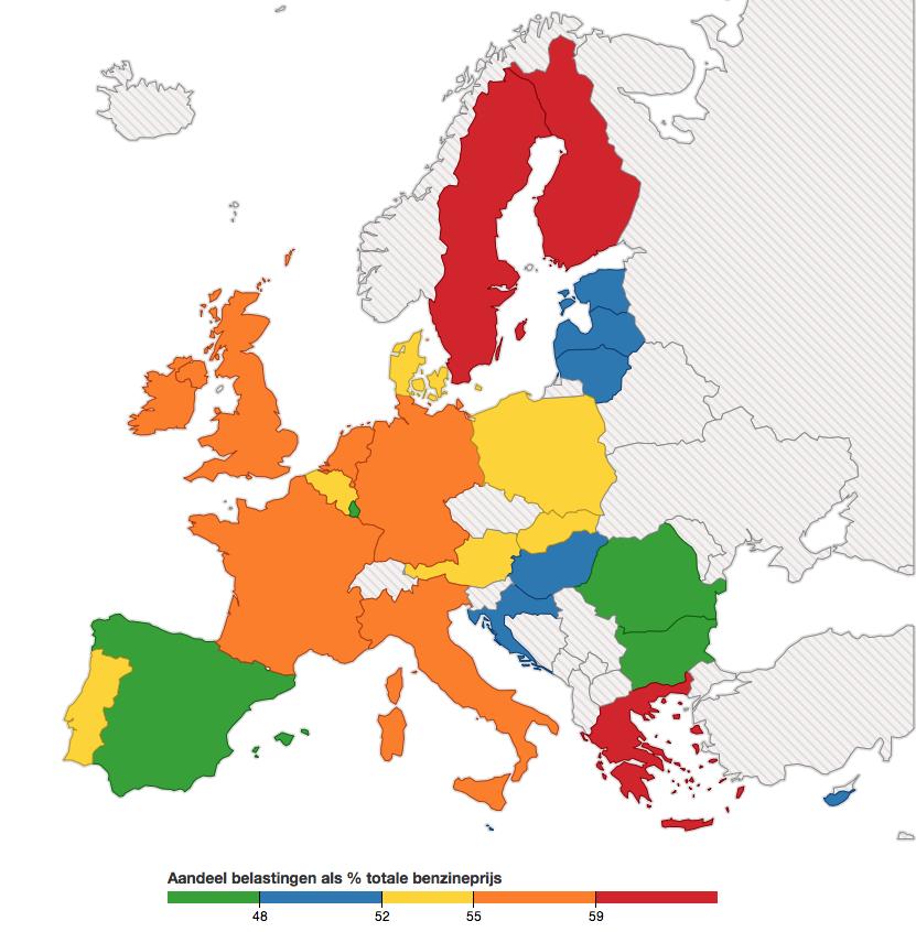 Aandeel belastingen als % van de totale dieselprijs (per 17 juli 2014)