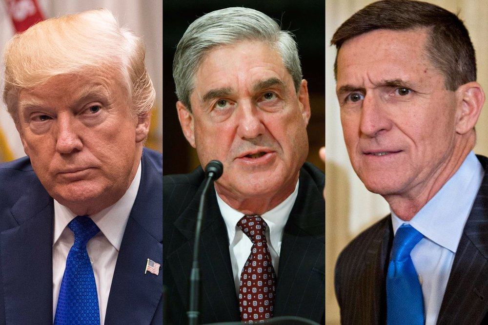 Trump, Mueller en Flynn (Fotos: Kevin Dietsch, Alex Wong and Andrew Harrer -Bloomberg/Getty)