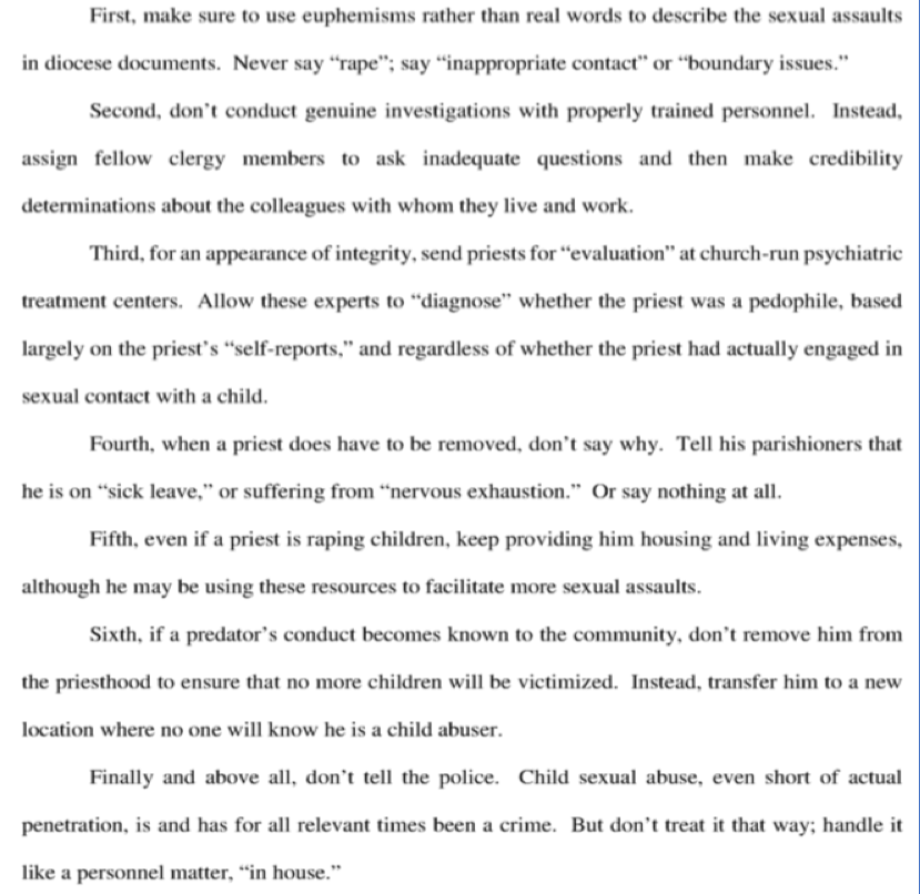 Bladzijde 3 uit het Grand Juryrapport inzake kindermispruik door priesters van de katholieke kerk, Pennsylvania, uitgebracht op 14 augustus 2018.
