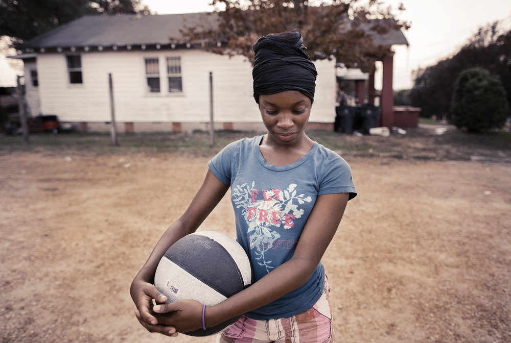 Young Girl With Basketball, Vicksburg, Miss.
