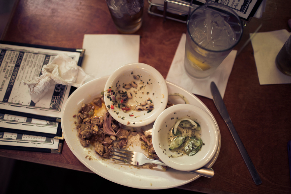 The remains of whole hog barbecue, the Lamar Lounge, Oxford, Miss.
