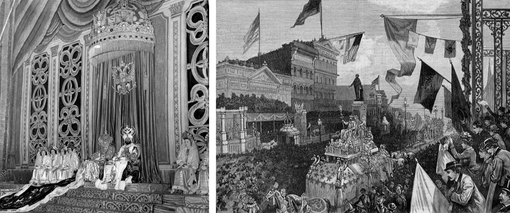 Left: Mardi Gras king and queen on throne with attendants. Right: The Carnival at New Orleans, a wood engraving drawn by John Durkin and published in Harper's Weekly, March 1885.