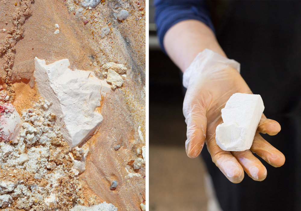 "Kaolin or ""white dirt"" in its natural form (left) and after harvest (right)."