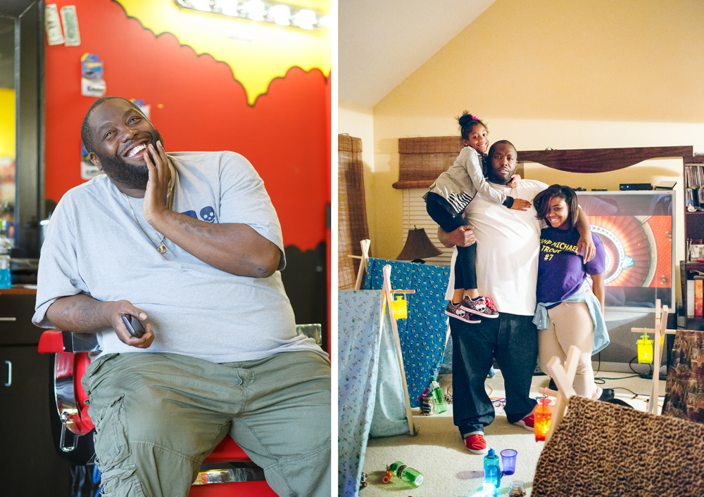 Killer Mike in his barbershop, at left, and, at right, at home with with his daughters, Michael, 7, and Aniyah, 16