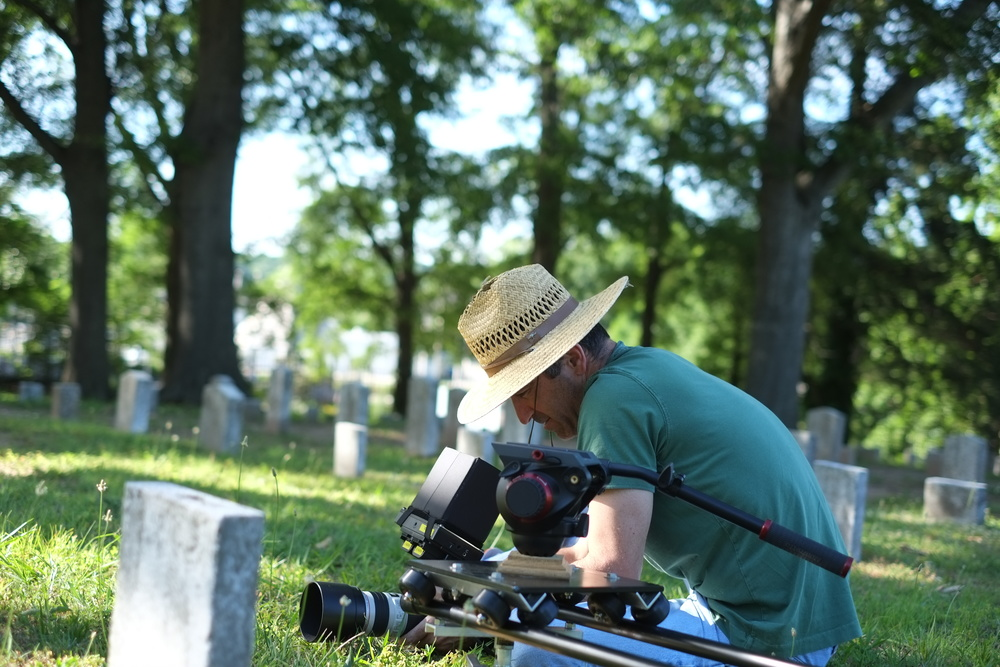Cinematographer Yoram Astrakhan shoots scenics in the Marietta Confederate Cemetery.